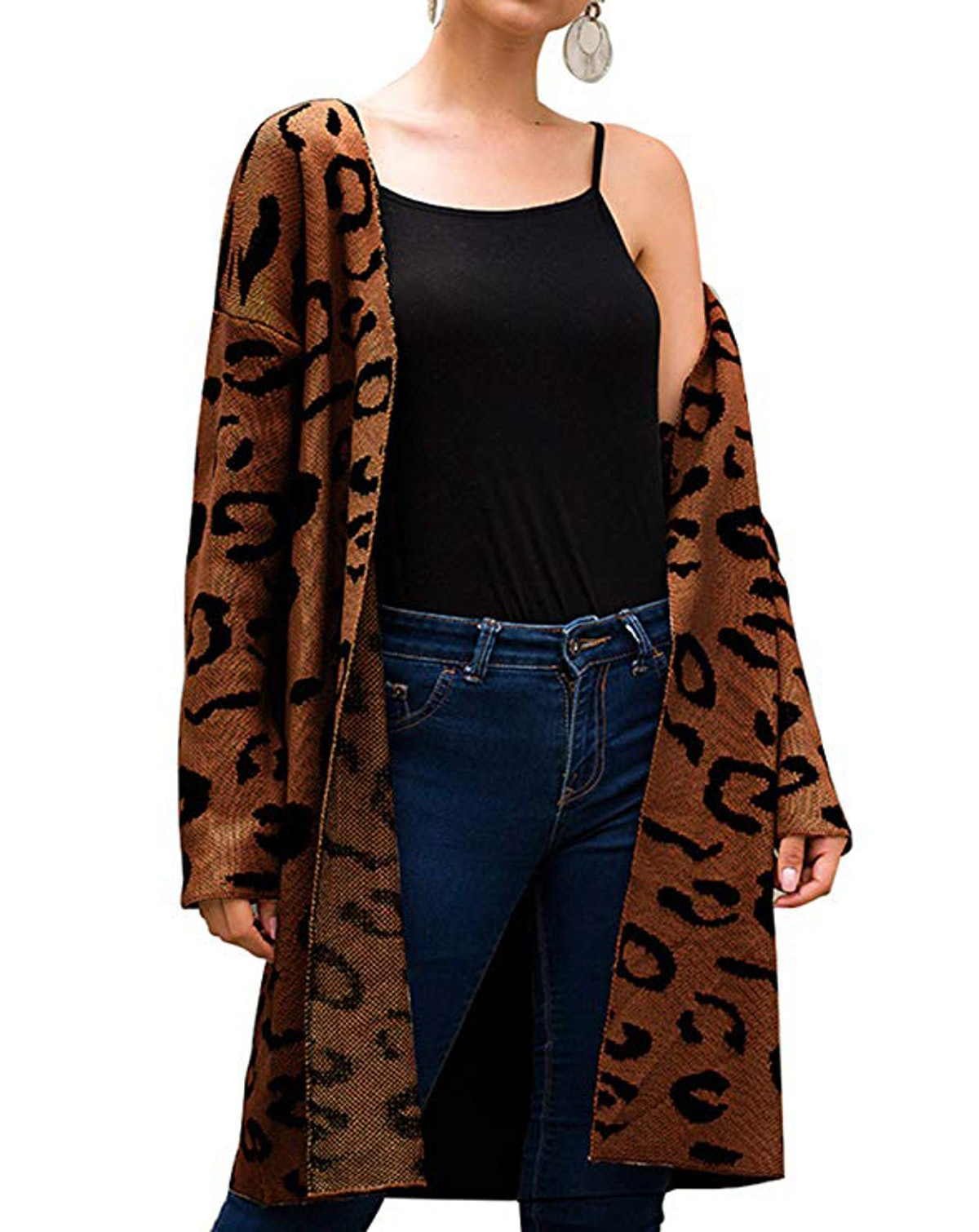 Angashion Long Sleeve Leopard Print Cardigan