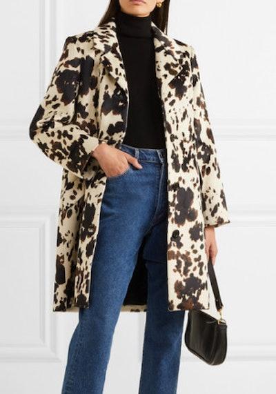 Cow-Print Faux Fur Coat