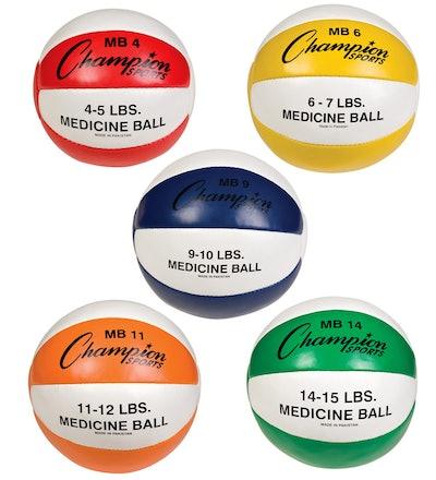 Champion Sports Leather Medicine Ball (Set of 5)
