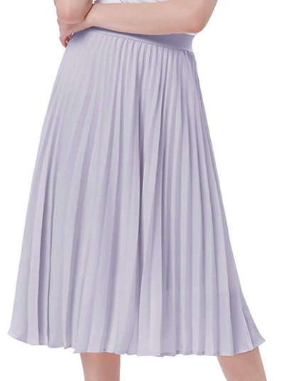 Kate Kasin Women's High Waist Pleated A-Line Swing Skirt