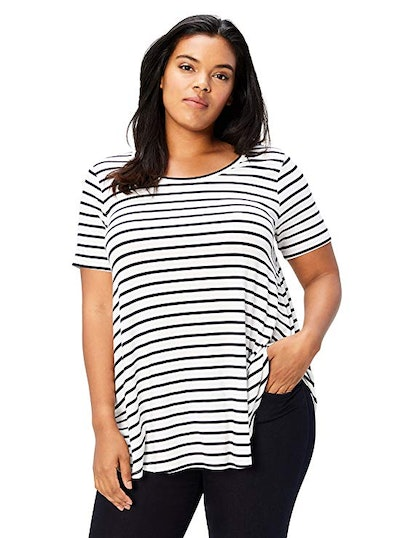 Daily Ritual Women's Plus Size Jersey Short-Sleeve Scoop Neck Swing T-Shirt