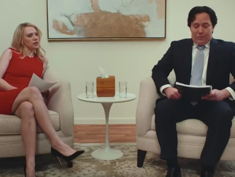 Kellyanne and George Conway played by Kate McKinnon and Beck Bennett on Saturday Night Live