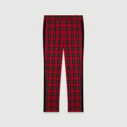 Velvet Piped Plaid Pants