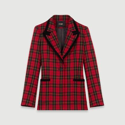 Velvet Piped Plaid Jacket