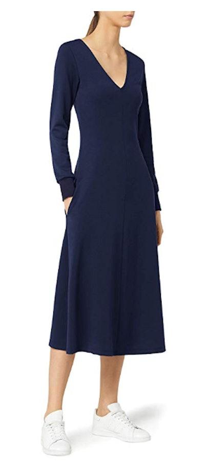 Meraki Women's A-line V-neck Midi Dress with Pockets