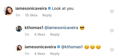 Esonica comments on Kareem's Instagram photo after Temptation Island