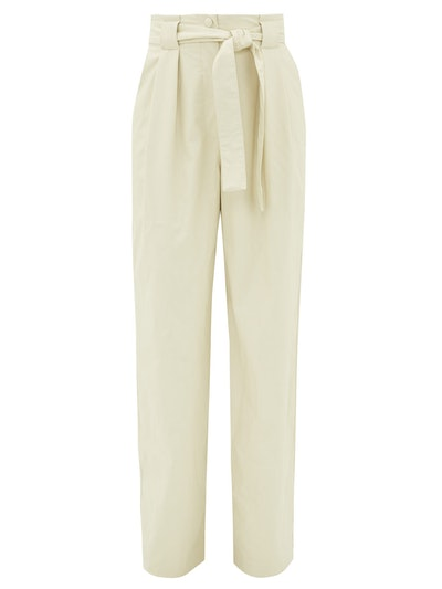 High-rise Belted Faux Leather Trousers