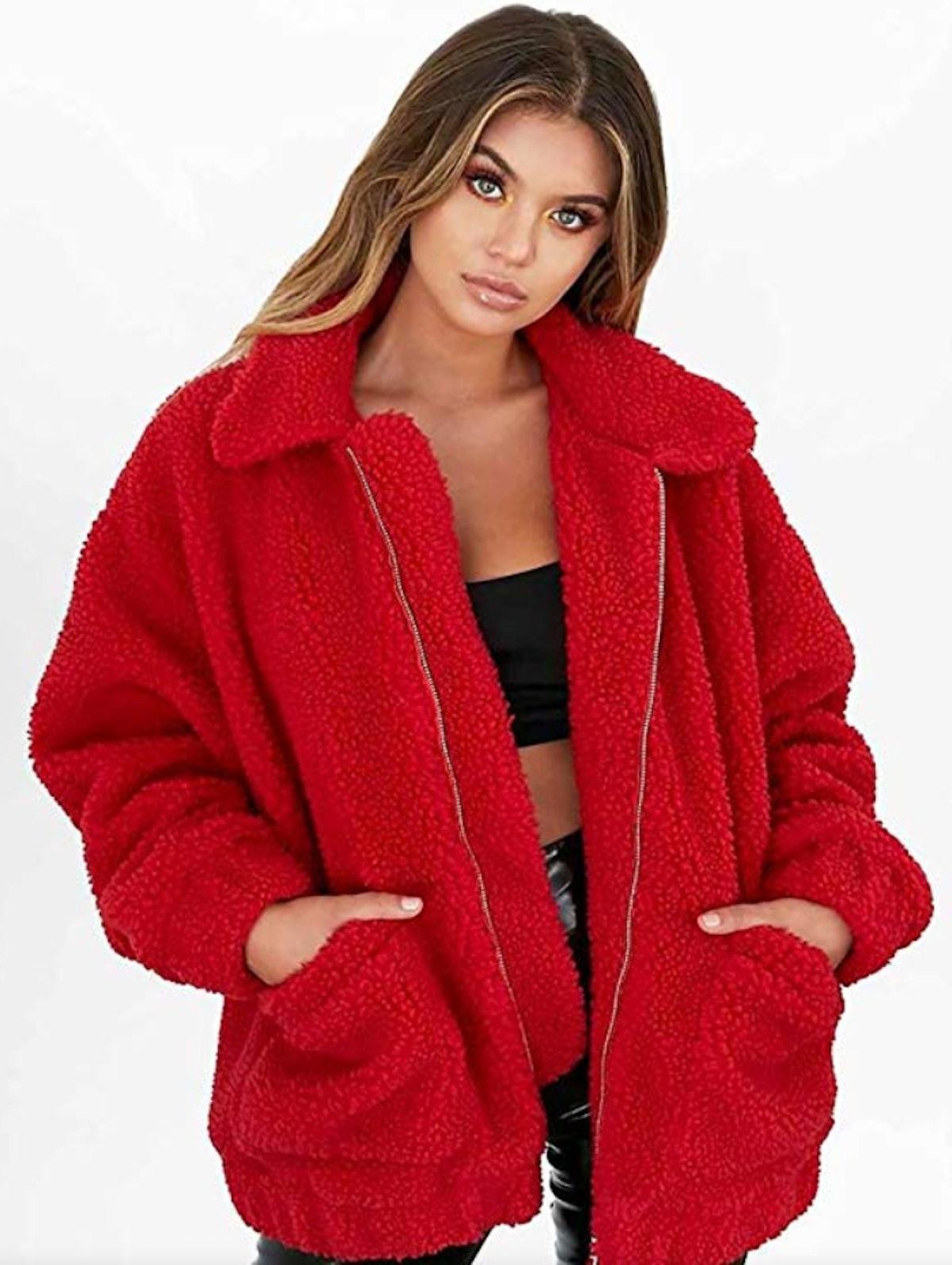 PRETTYGARDEN Oversized Faux Fur Jacket