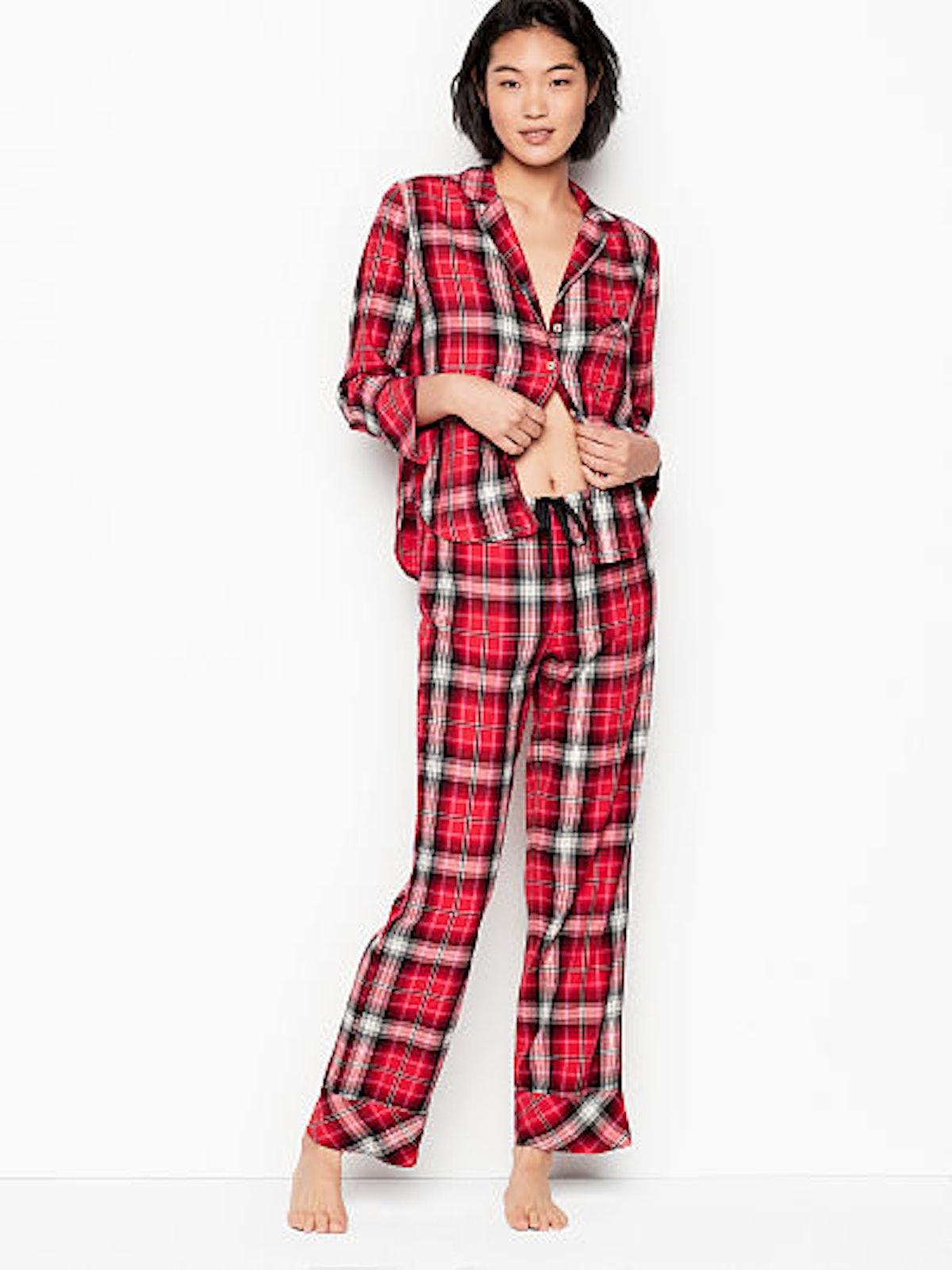 Flannel PJ Set in Bright Cherry Plaid