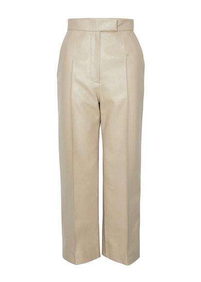 Faux Leather Pants in Dark Beige
