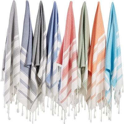 Bosphorus Turkish Cotton Hand Towel Set (8-Pack)