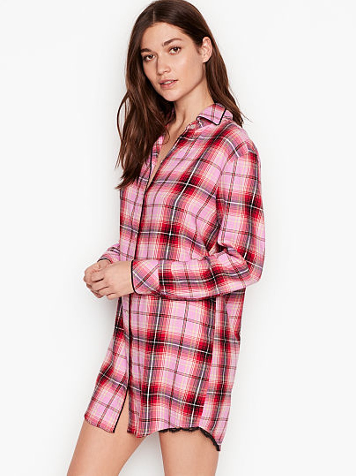 Button-Front Flannel Sleep Top in Berry Frost Plaid