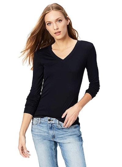 Daily Ritual Women's Rib Knit Jersey Long-Sleeve V-Neck Shirt