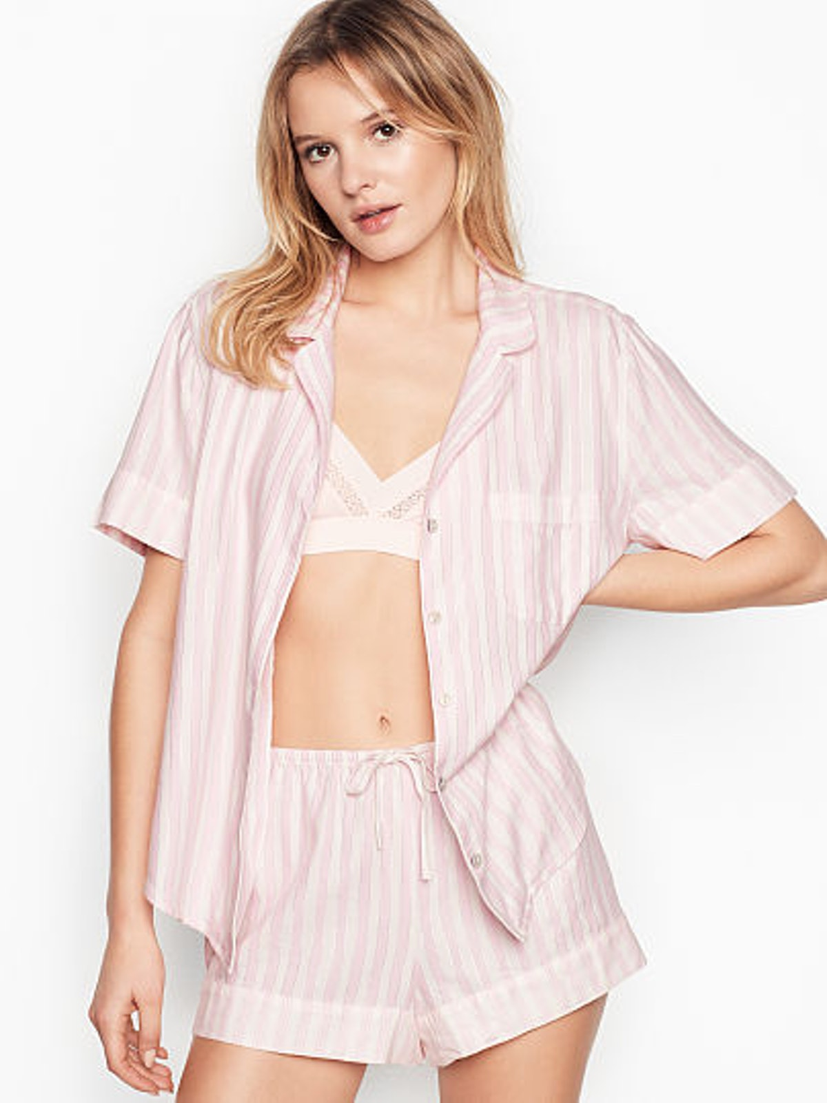 Flannel Short PJ Set in Pink/White Stripe