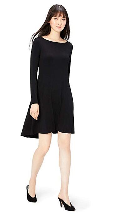Daily Ritual Women's Jersey Long-Sleeve Bateau-Neck Dress