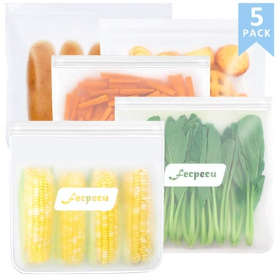 FecPecu Reusable Food Storage Bags (5-Pack)
