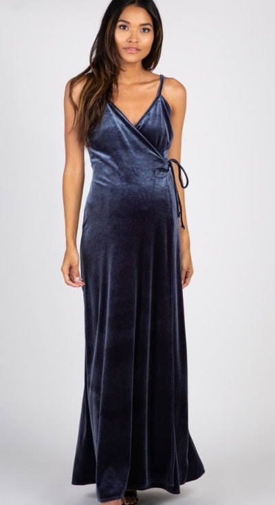 Grey Velvet Wrap Self Tie Maternity Maxi Dress
