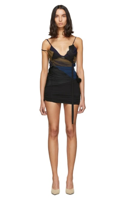 Black & Navy Silk Dress