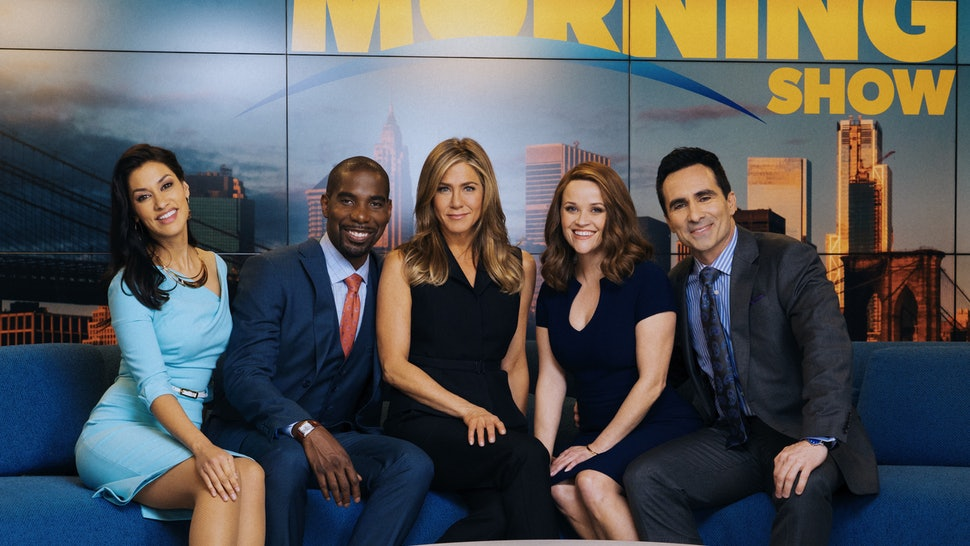 Janina Gavankar, Desean Terry, Jennifer Aniston, Reese Witherspoon and Nestor Carbonell in 'The Morning Show' on Apple TV+, which is coming back for Season 2