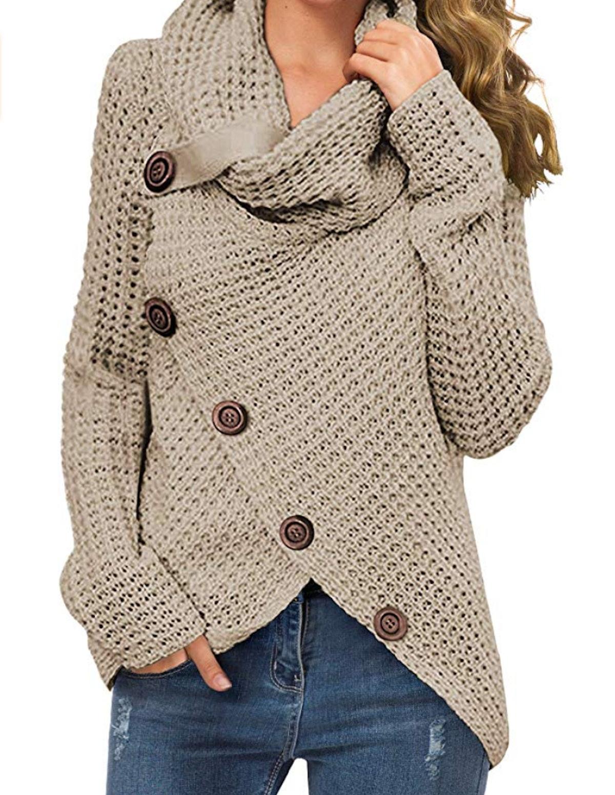 GRECERELLE Cowl Neck Wrap Sweater