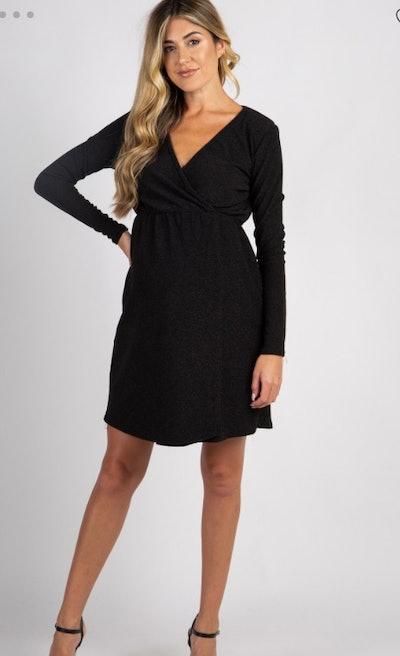 Black Glitter Long Sleeve Maternity Wrap Dress