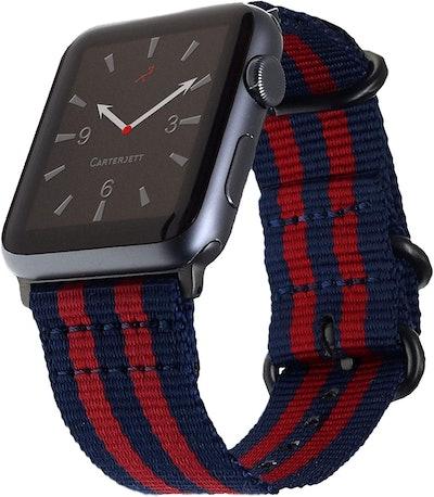 Carterjett Nylon Apple Watch Band, Navy Blue & Red