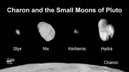 Family portrait of Pluto's moons: This composite image shows a sliver of Pluto's large moon, Charon,...