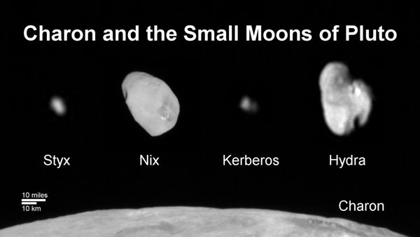 Family portrait of Pluto's moons: This composite image shows a sliver of Pluto's large moon, Charon, and all four of Pluto's small moons.