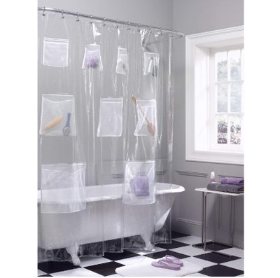 Maytex Quick Dry, Waterproof PEVA Shower Curtain or Liner With Mesh Pockets