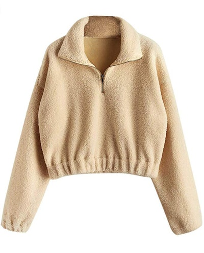 DEZZAL Cropped Sherpa Pullover