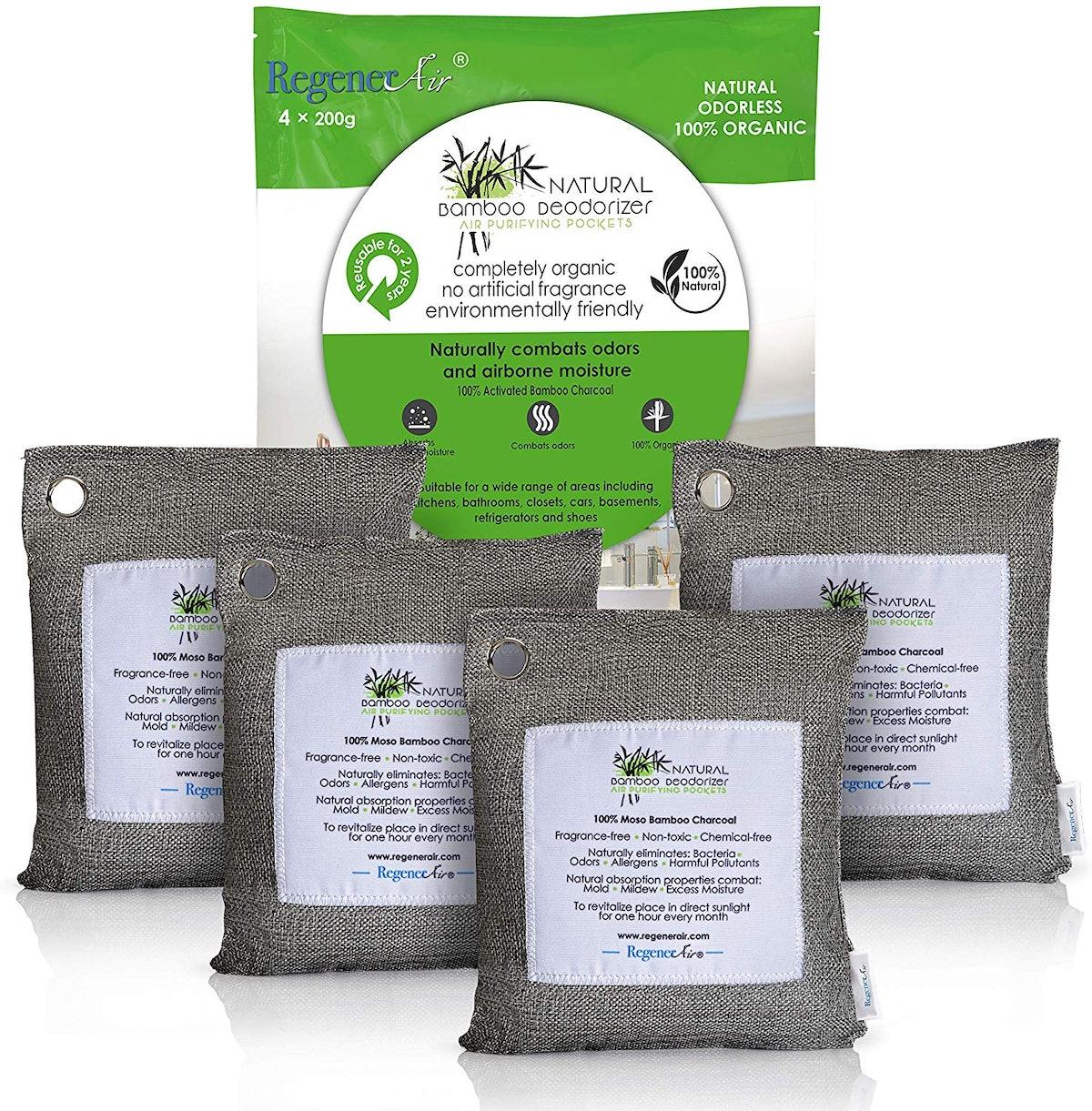 Regenerair 100% Activated Bamboo Charcoal Deodorizer Bags (4-Pack)