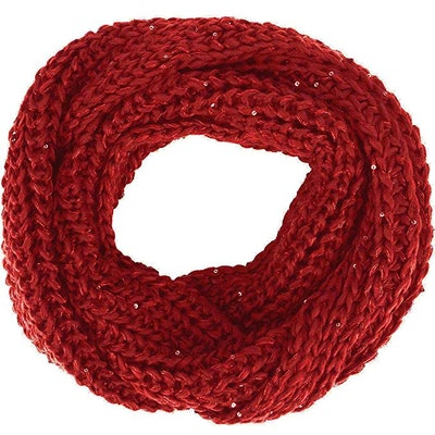 Simplicity Women Solid Color Knit Infinity Scarf Soft Warm Scarves, Burgundy
