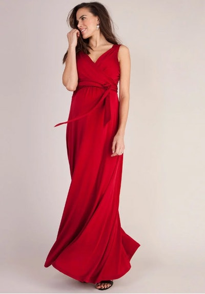 Claret Maternity & Nursing Evening Dress