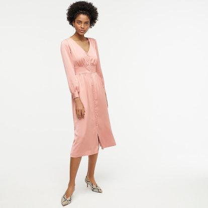 Button-Front A-line Midi Dress