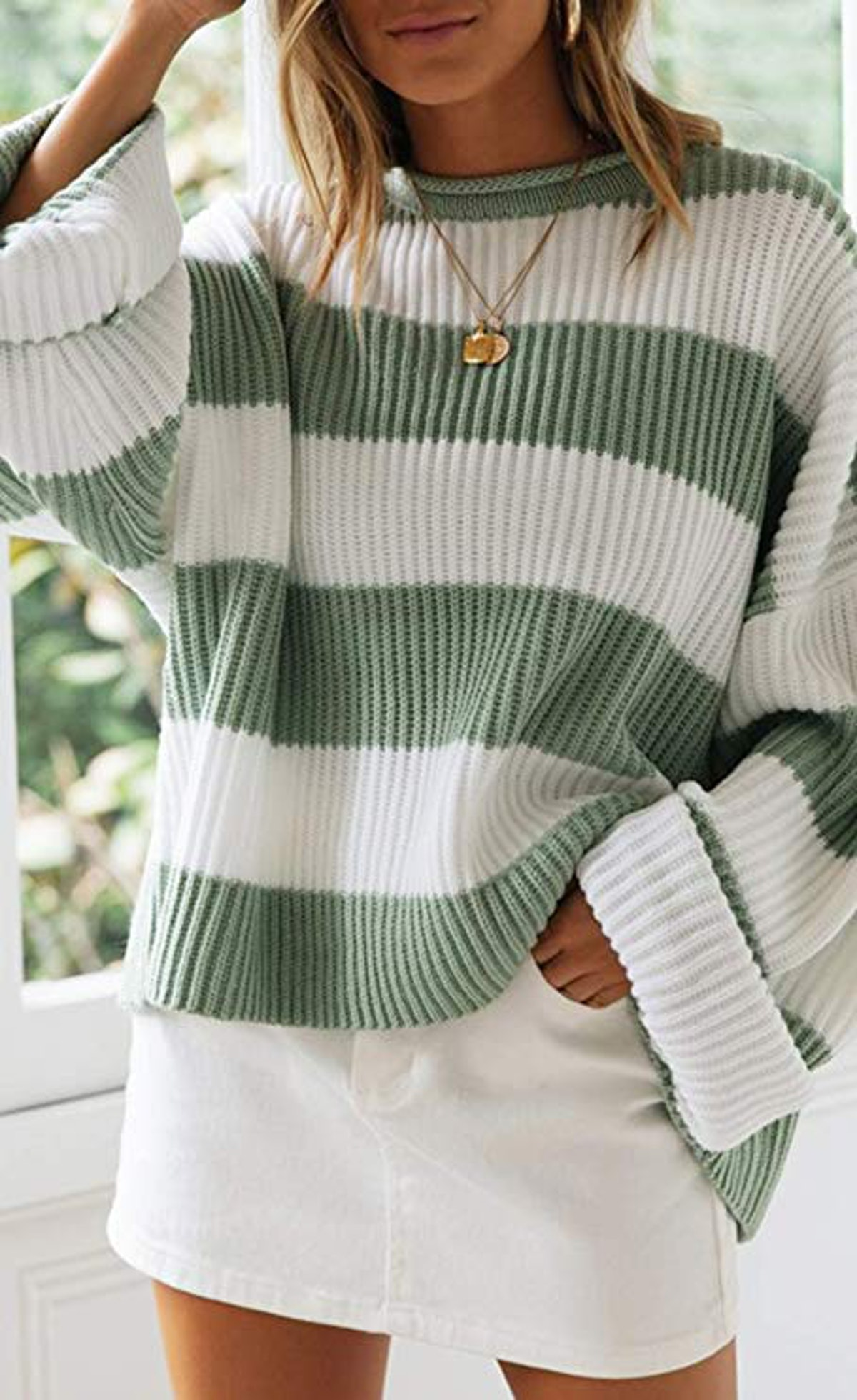 ZESICA Oversized Striped Knitted Pullover