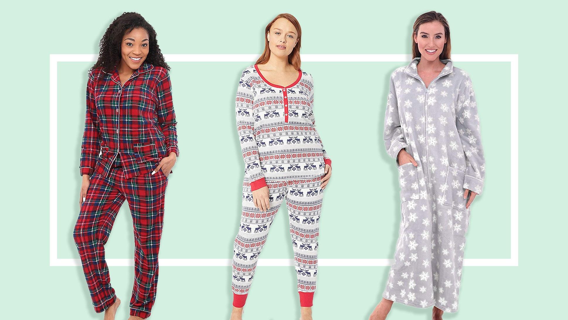 Womens Winter Cosy Soft Feel Fleece Top /& Bottoms Pyjamas White Star