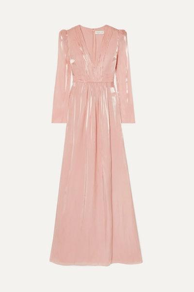 Rosalie Gathered Metallic Chiffon Gown