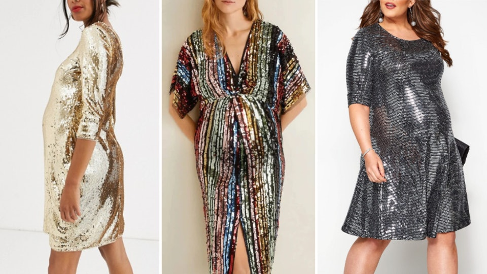 Lineup of sparkly maternity new year's eve dresses