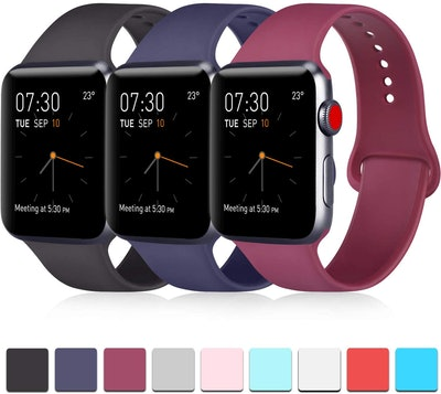 ATUP Apple Watch Band 3-Pack, Black/Navy Blue/Wine Red