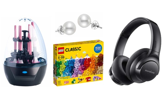 best last minute gifts from costco: makeup brush cleaner, pearl earrings, lego set, noise-cancelling headphones