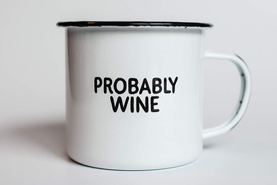 Probably Wine Enamel Camp Coffee Mug