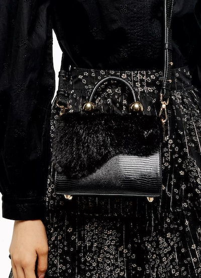 Carmen Black Faux Fur Cross Body Bag