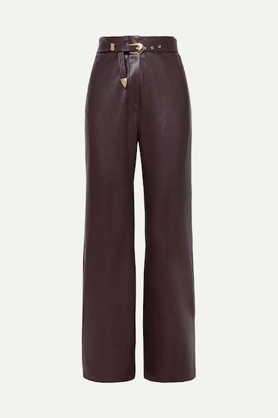 Kisa Belted Vegan Leather Straight-Leg Pants