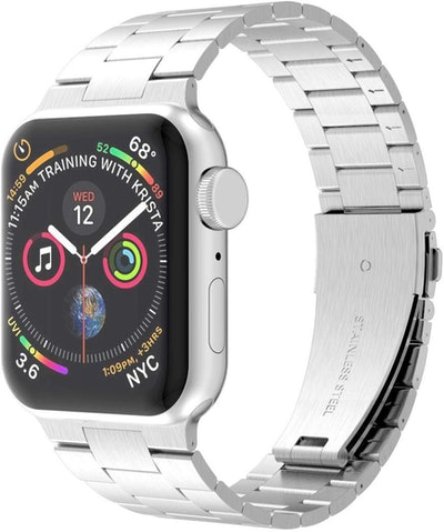 iiteeology Solid Stainless Steel Apple Watch Band, Silver