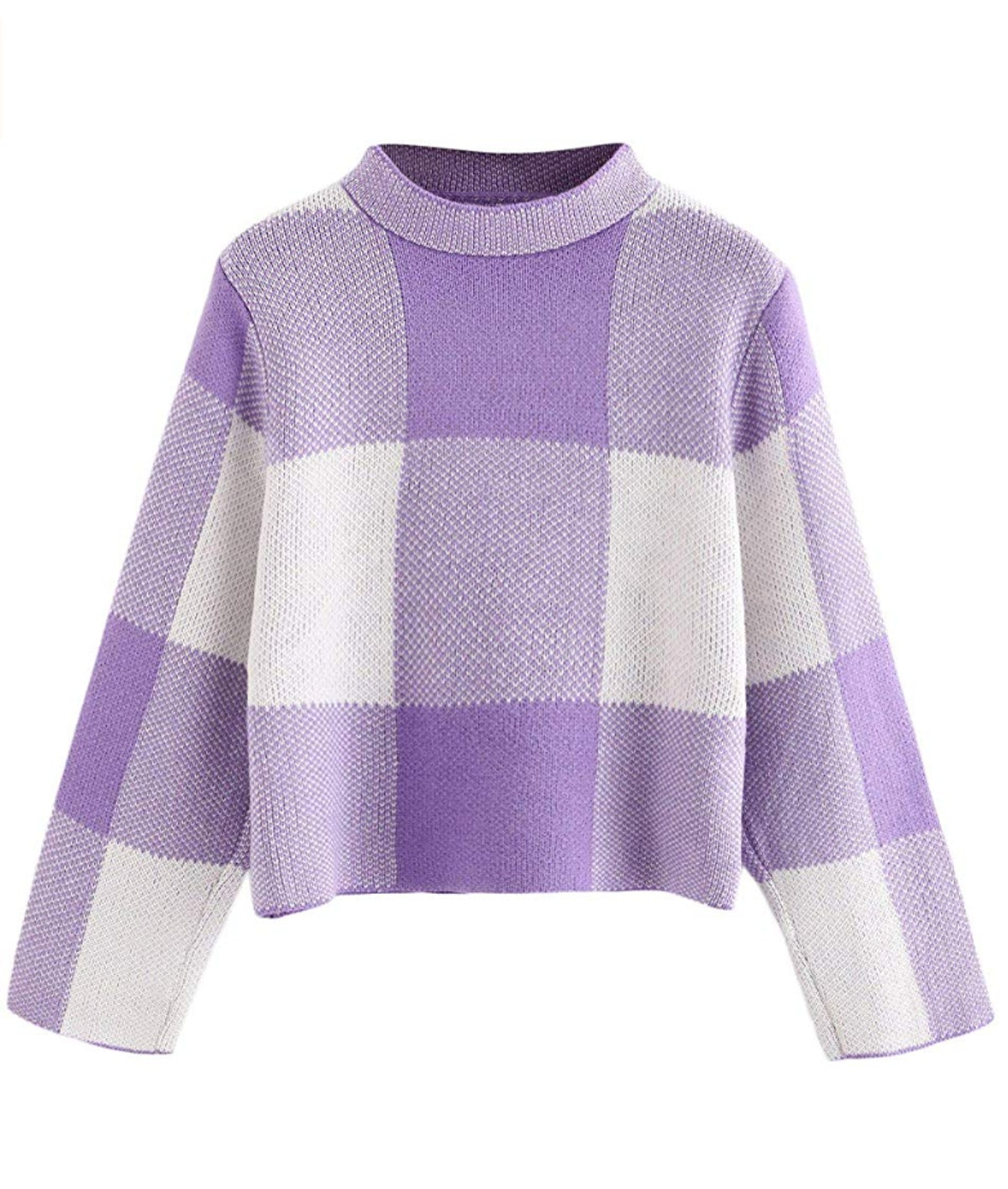 Floerns Cropped High Neck Plaid Sweater