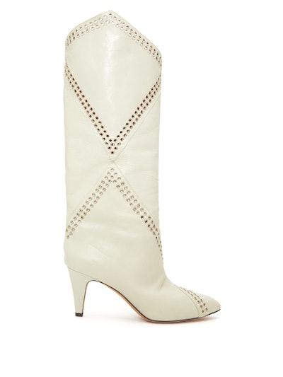 Lahia Eyelet-Embellished Leather Boots
