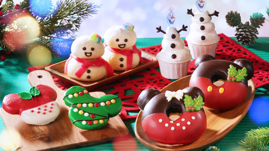 An assortment of holiday and Mickey Mouse-shaped treats are available at Hong Kong Disneyland.