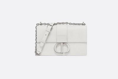 Chalk White 30 Montaigne Stamped Grain Calfskin Flap Chain Bag
