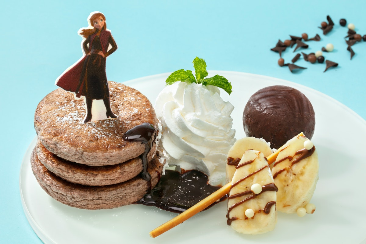'Frozen 2' strawberry pancakes with Anna on top are available for the holidays at Shanghai Disneylan...
