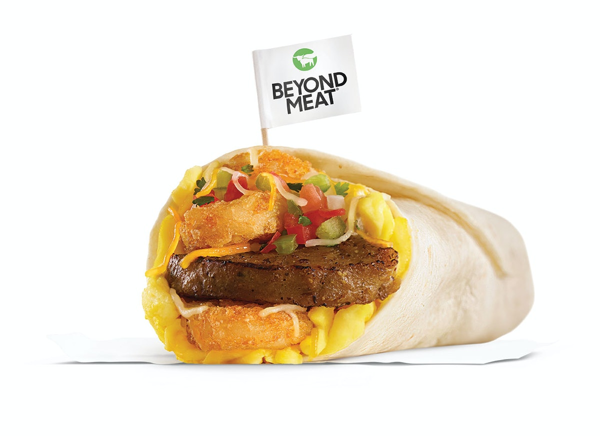 Carl's Jr.'s & Hardee's New Beyond Meat All-Day Menus include a breakfast burrito with a vegetarian sausage patty.